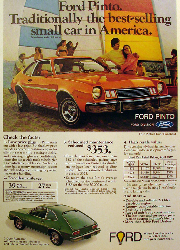 Ford Pinto traditionally the best-selling small car in America, 1977