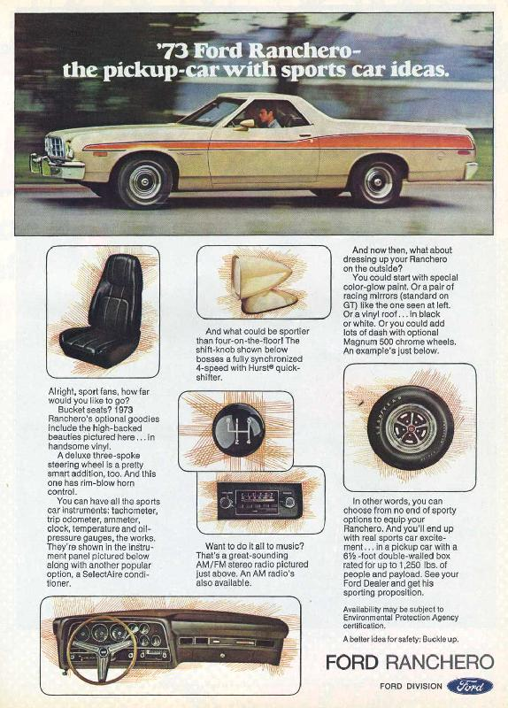'73 Ford Ranchero the pickup car with sports ideas, 1973