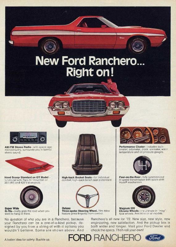 New Ford Ranchero... right on!, 1972