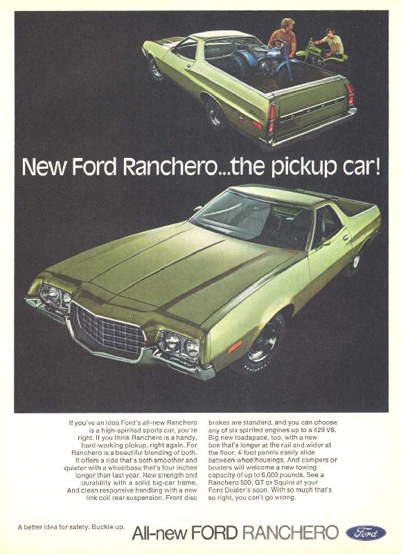 New Ford Ranchero... the pickup car!, 1972