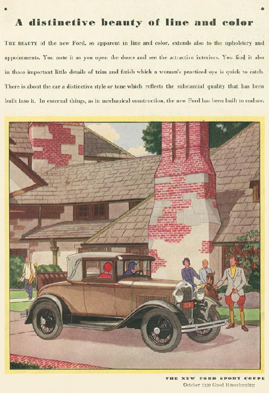 "Ford Sport Coupe ""A distinctive beauty of line and color"", 1930"