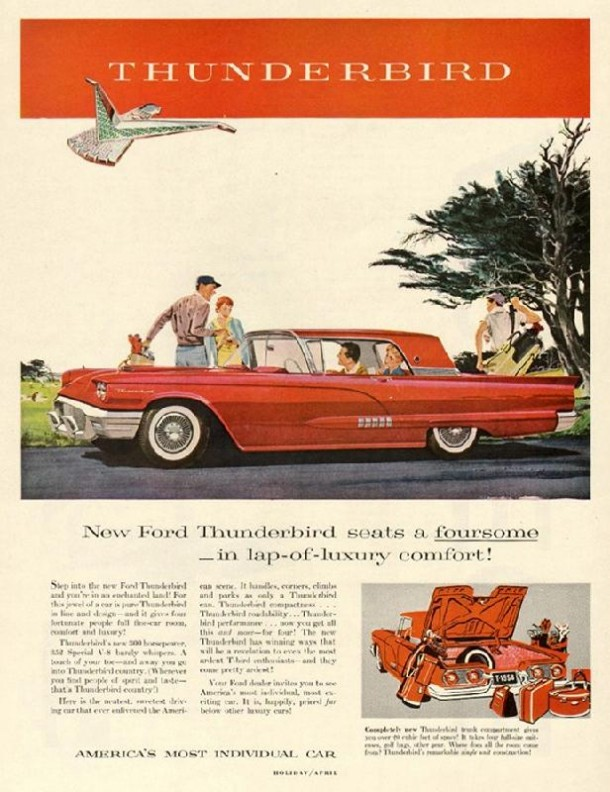 New Ford Thunderbird seats a foursome in lap of luxury comfort!, 1958