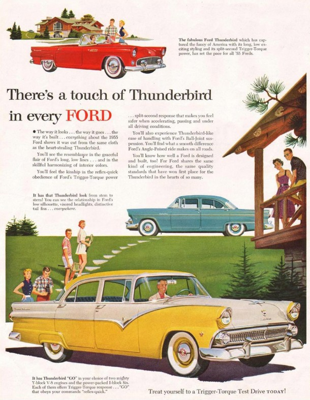 There's a touch of thundervird in every Ford, 1955