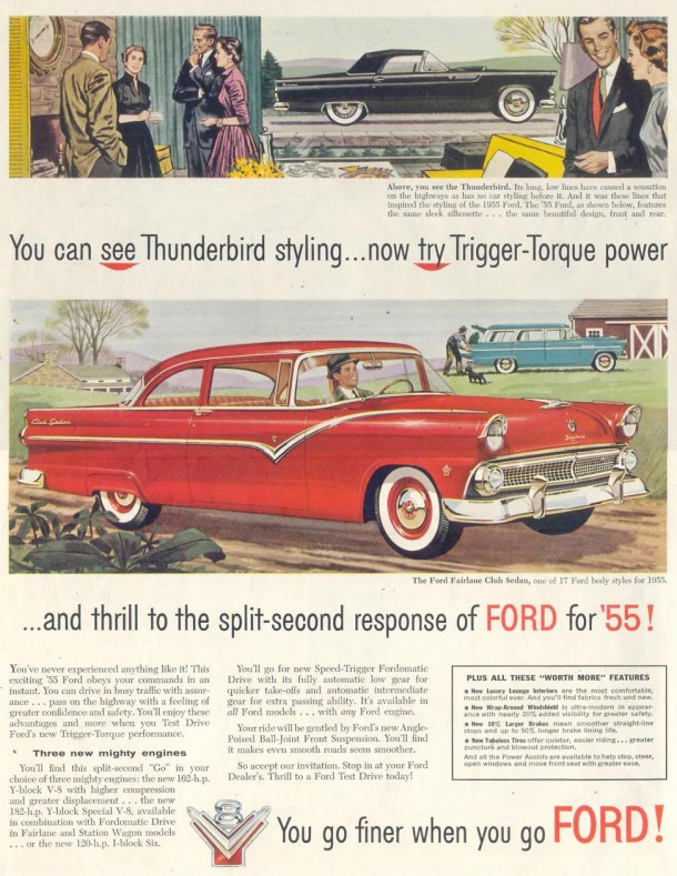 You can see Thunderbird styling... now try Trigger-Torque power, 1955
