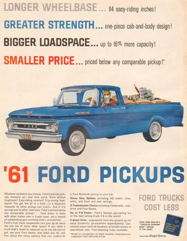 Ford trucks cost less, 1961