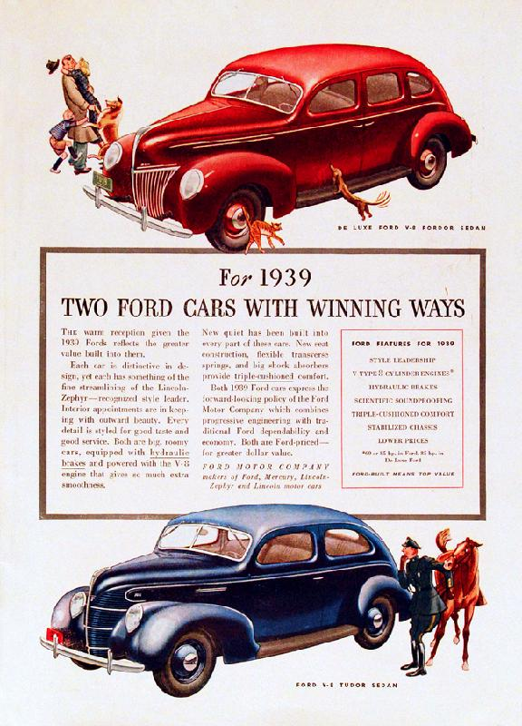 """For 1939 two Ford cars with winning ways"", 1939"