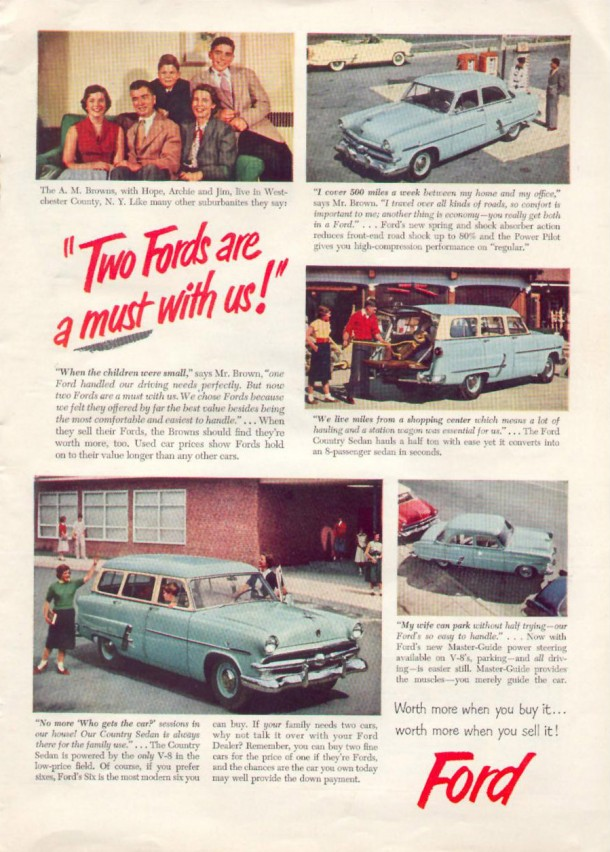 Two Fords are a must with us!, 1953