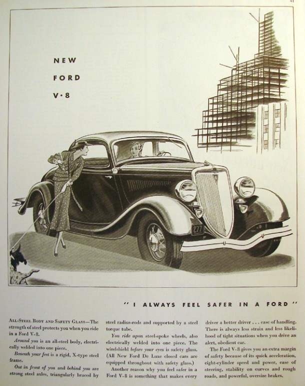 "New Ford V8 ""I always feel safer in a Ford"", 1934"