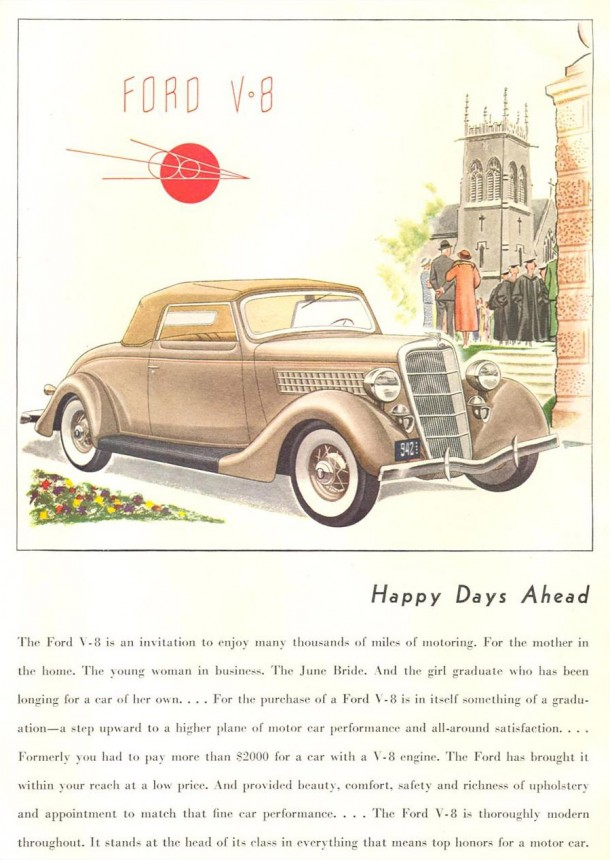"Ford V8 ""Happy days ahead"", 1935"