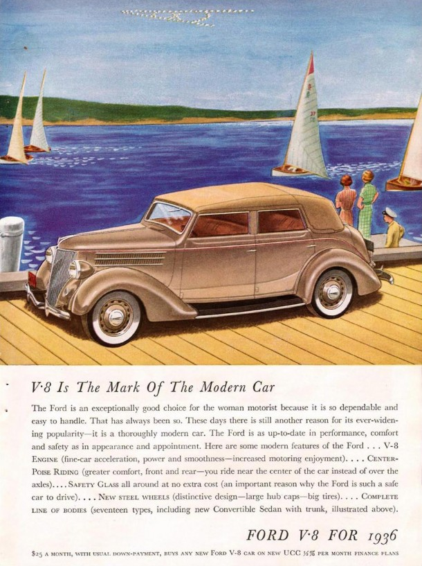 V8 is the mark of the modern car, 1936
