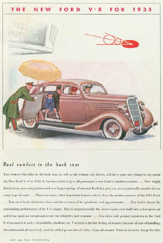 "Ford V8 ""Real comfort in the back seat"", 1935"