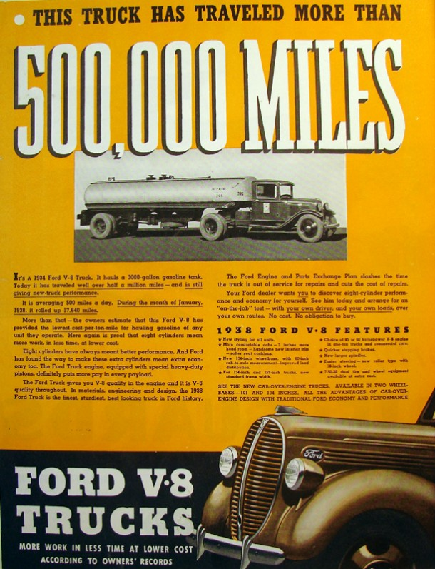 "Ford V8 trucks ""More work in less time at lower cost according to owners records"", 1934"