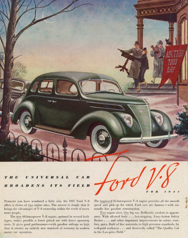 "Ford V8 ""The universal car broadens its field"", 1937"