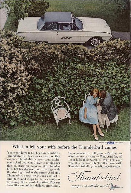 What to tell your wife before the Thunderbird comes, 1963