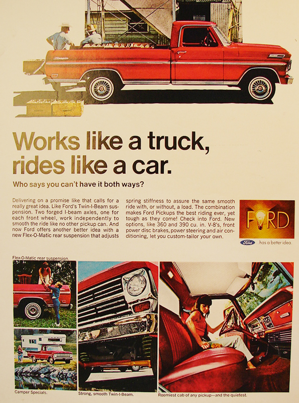 Works like a truck, rides like a car, 1968