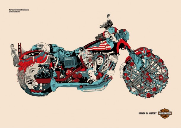 """Driven by history"" Print Ad for Harley-davidson Motorcycles, 2012"