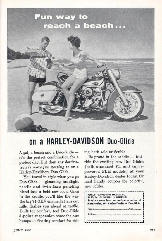 Fun way to reach a beach on a Harley-Davidson Duo-Glide, 1960