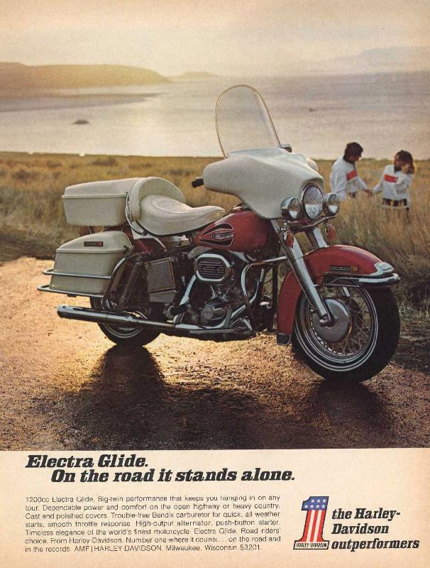 Electra Glide on the road it stands alone, 1971