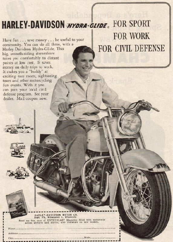 Harley-Davidson for sport, for work, for civil defense, 1951