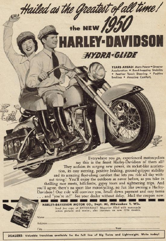 Hailed as the greatest of all time the new 1950 Harley-Davidson