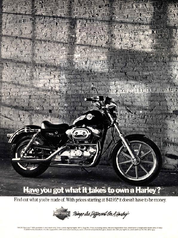 Have you got what it takes to own a Harley?, 1989