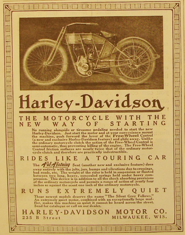 Harley-Dvidson the motorcycle with the new way of starting, 1912
