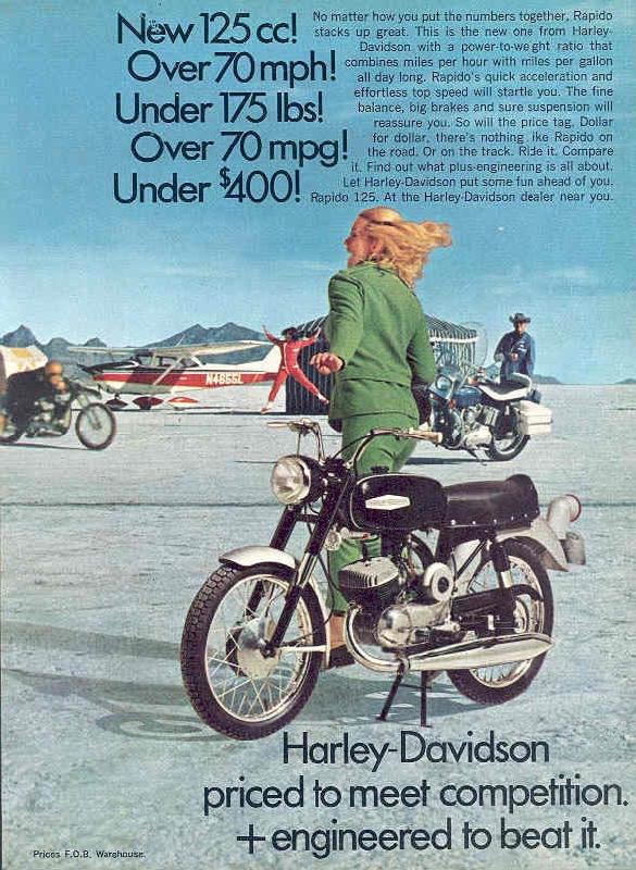 Harley-Davidson priced to meet competition and engineered to beat it, 1968