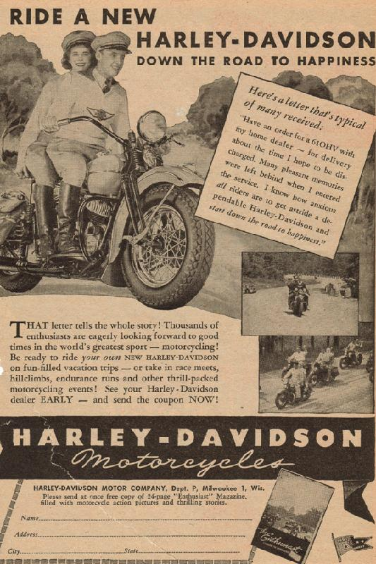 Ride a new Harley-Davidson down the road to happiness, 1946