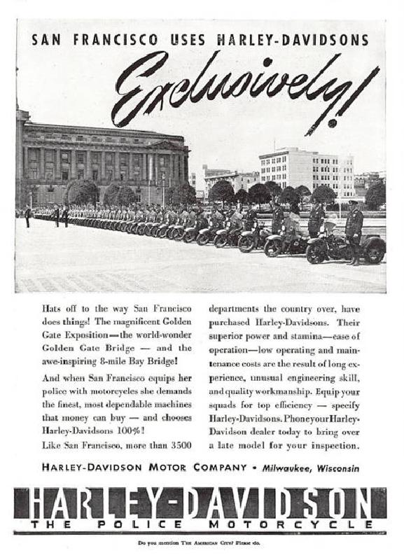 San Francisco uses Harley-Davidsons Exclusively, 1940