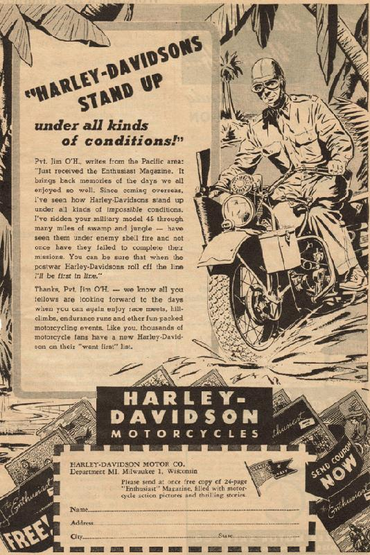 Harley-Davidsons stand up under all kinds of conditions, 1945