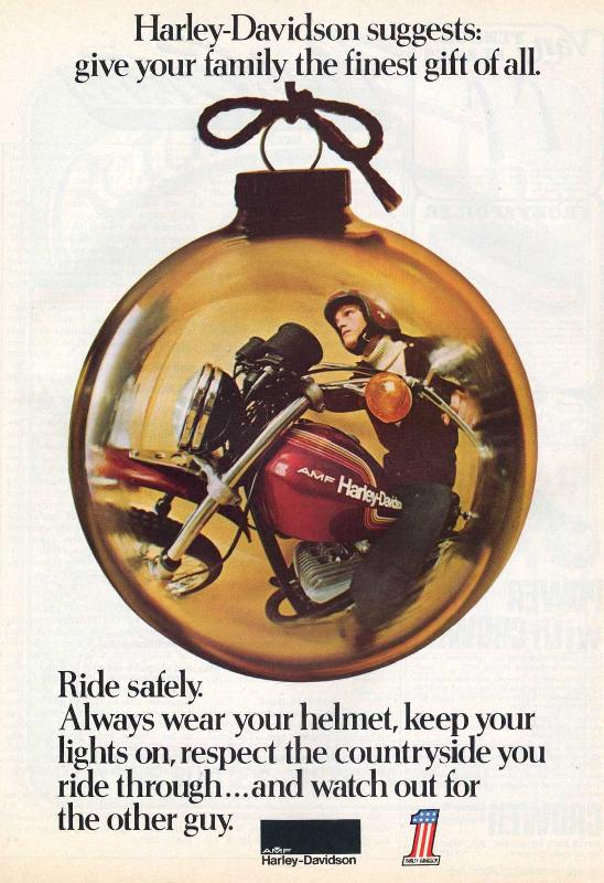 Harley-Davidson suggests: give your family the finest gift of all, 1974