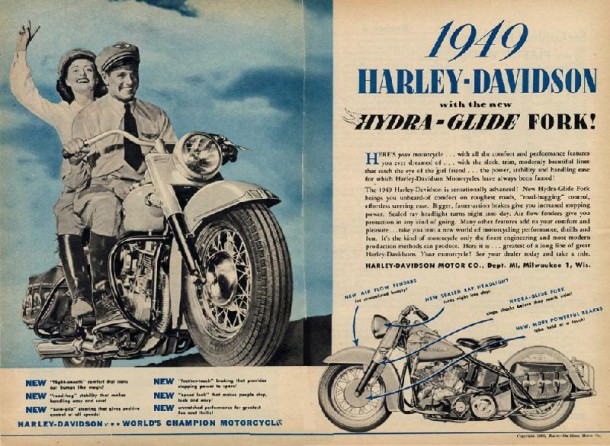Harley-Davidson with the new Hydra-Glide Fork, 1948