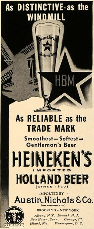 1938 Ad Austin Nichols & Co. Heineken's Holland Beer