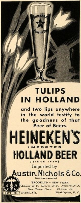 1938 Ad Austin Nichols Heineken's Holland Beer Tulips