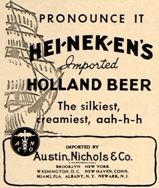 1936 Ad Heineken's Holland Beer Austin Nichols Alcohol