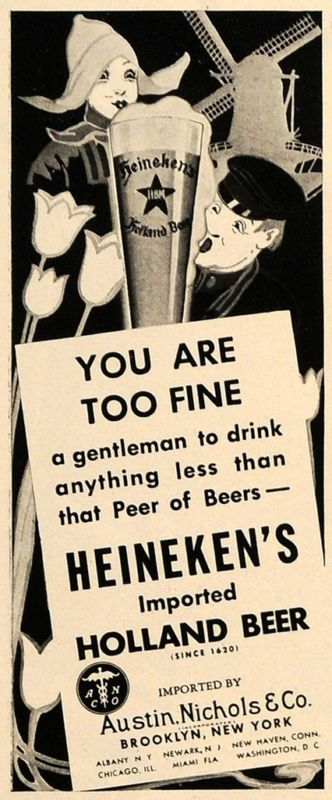 1937 Ad Heineken Holland Beer Austin Nichols Alcohol