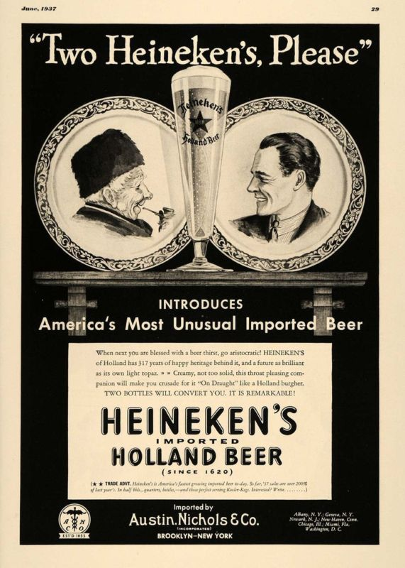 1937 Ad Heineken Imported Holland Beer Gentlemen Austin