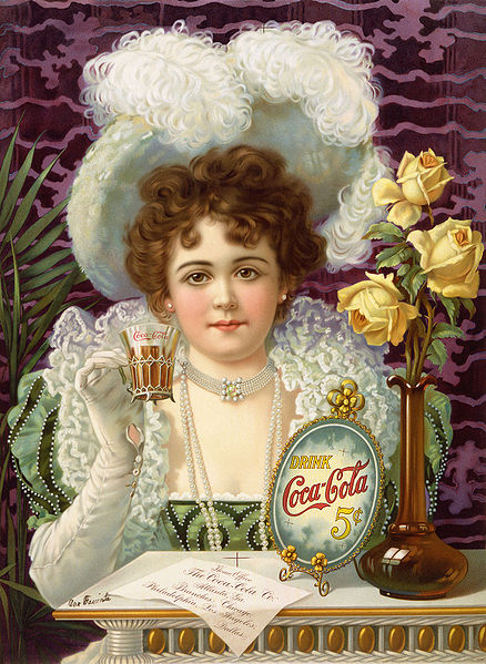 An 1890s advertisement showing model Hilda Clark in formal 19th century attire. The ad is titled Drink Coca-Cola 5¢.