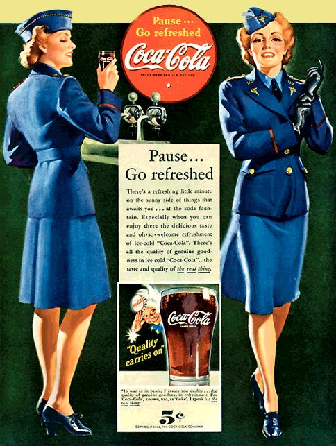 Coca-Cola circa 1942 'Pause...Go refreshed'