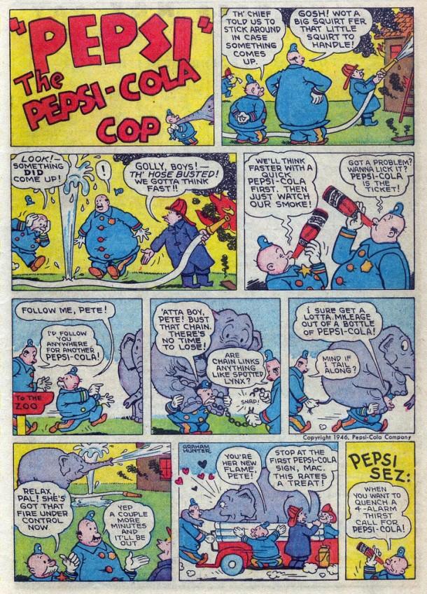 Pepsi Cola Cop - Fireman and Elephant 1946