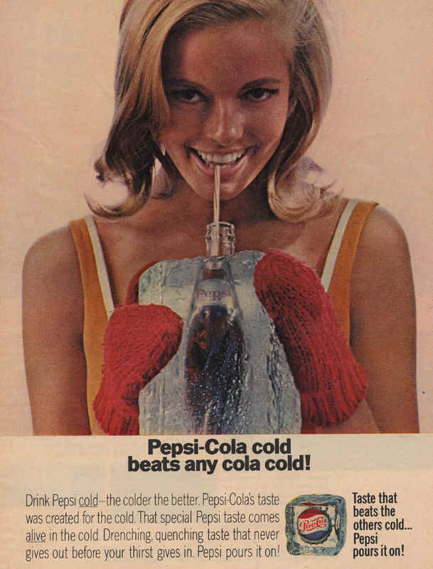 Pepsi-Cola girl drinking ice cold pepsi 1966