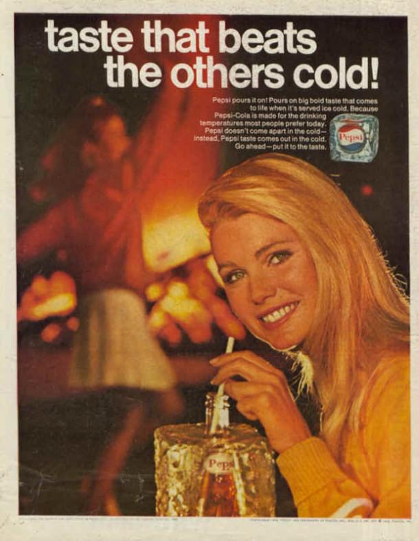 Pepsi-Cola girl drinking pepsi 1968