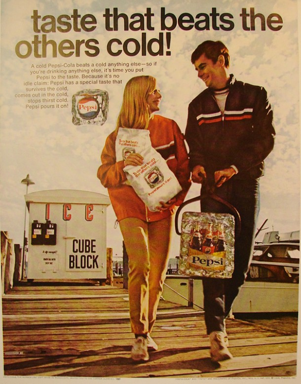 Pepsi-Cola has a special taste that survives the cold 1968