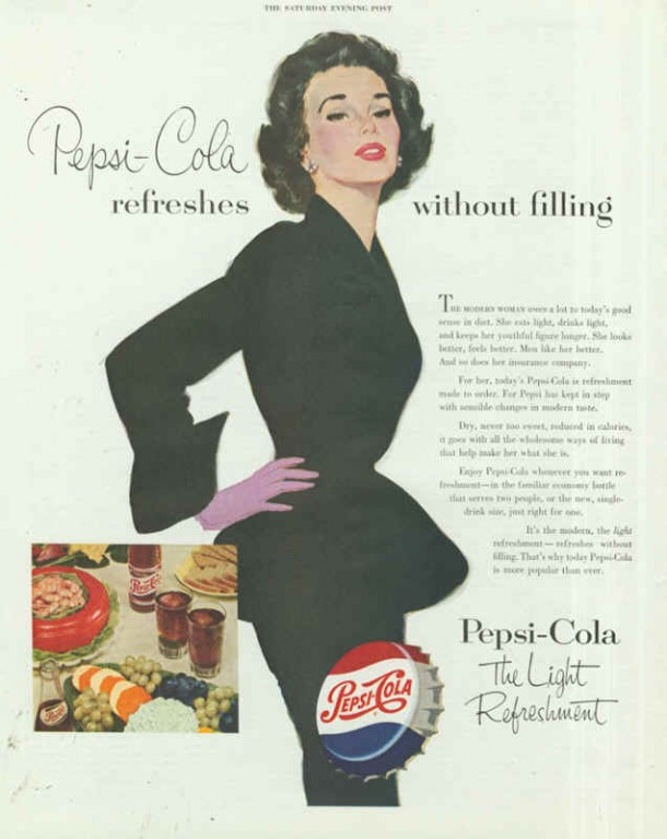 Pepsi-Cola refreshes without filling 1953