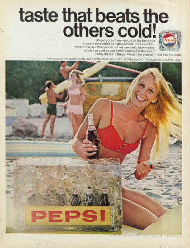 Pepsi-Cola taste that beats the others cold 1968