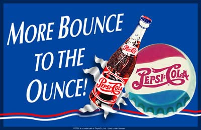 More bounce to the ounce, metal tin sign 1950s