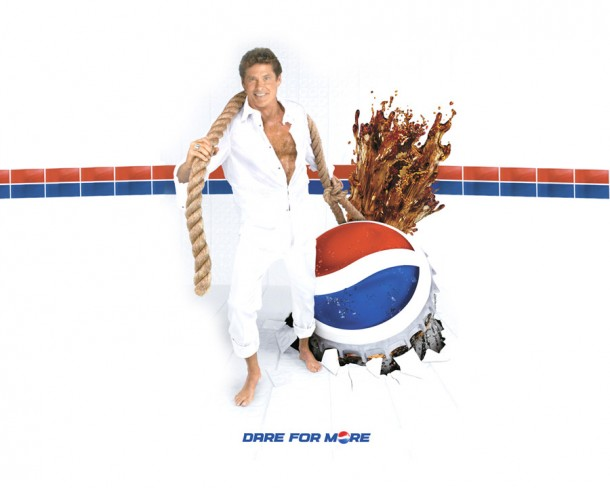 """Pepsi campaign with David Hasselhoff """"Dare for more"""" 1990s #2"""