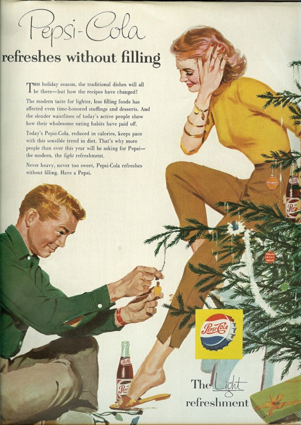 "Pepsi Christmas ad ""Pepsi-Cola refreshes without filling"" 1956"