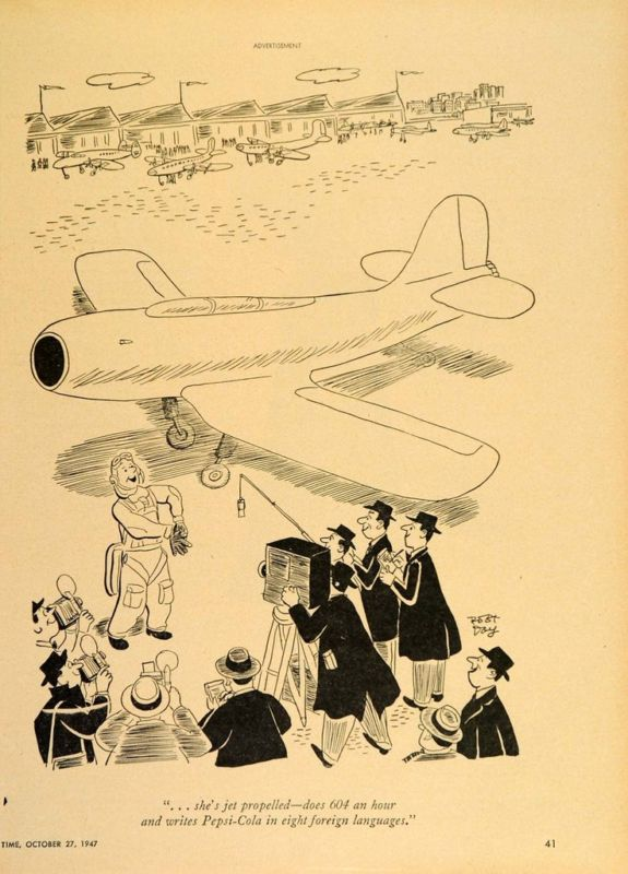 1947 Ad Pepsi Cola Robert Day Cartoon Pilot Plane