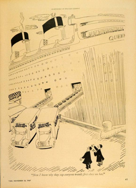 1947 Ad Pepsi Cola Robert Day Cartoon Queen Mary Cruise Ship